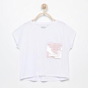 Reserved - T-shirt z dużymi cekinami - Biały