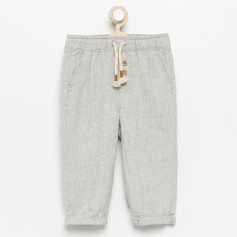 Reserved - Spodnie z lnu i bawełny - Kremowy