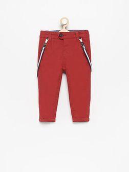 Reserved - Spodnie chino z szelkami - Czerwony