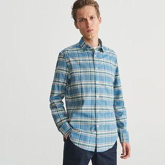Reserved - Koszula w kratę regular fit - Turkusowy