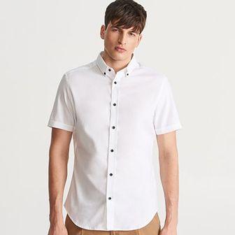 Reserved - Gładka koszula regular fit - Biały