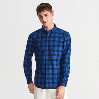 Reserved - Koszula regular fit w kratę - Granatowy