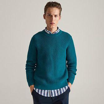 Reserved - Sweter ze strukturalnej dzianiny - Turkusowy