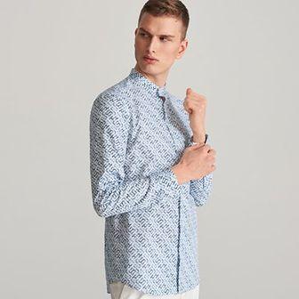 Reserved - Koszula slim fit z drobnym wzorem - Biały