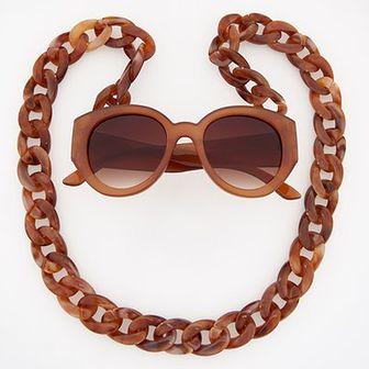 Reserved - Okulary przeciwsłoneczne z szylkretowym sznurem - Pomarańczo