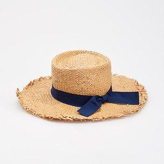 Reserved - Pleciony kapelusz z tasiemką - Beżowy