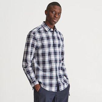 Reserved - Koszula comfort fit w kratę - Granatowy