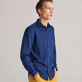 Reserved - Bawełniana koszula regular fit - Niebieski