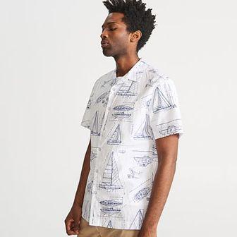 Reserved - Koszula z żeglarskim motywem - Biały