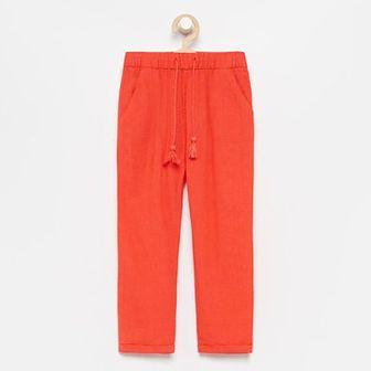 Reserved - Spodnie z lnu i wiskozy - Pomarańczowy