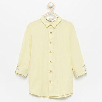 Reserved - Koszula z podwijanymi rękawami - Żółty