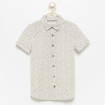 Reserved - Koszula w listki z krótkim rękawem - Kremowy
