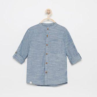 Reserved - Koszula ze stójką z podwijanymi rękawami - Niebieski