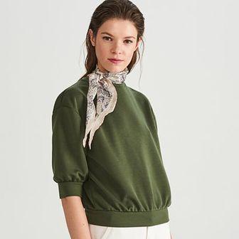 Reserved - Gładka bluza - Khaki