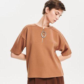 Reserved - Dzianinowa bluzka z zamkiem - Beżowy
