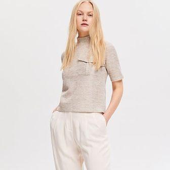 Reserved - Dzianinowa bluzka z kieszenią - Kremowy