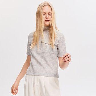 Reserved - Dzianinowa bluzka z kieszenią - Jasny szar
