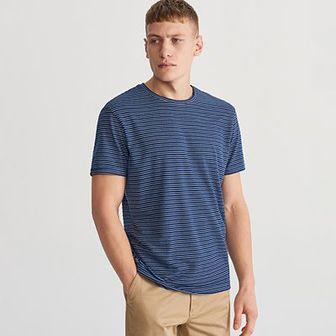 Reserved - Dzianinowy T-shirt w paski - Niebieski