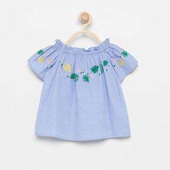 Reserved - Haftowana bluzka - Niebieski