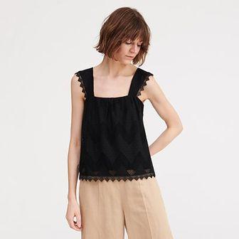 Reserved - Bluzka z koronkową wstawką - Czarny