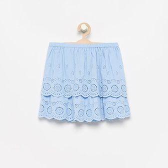 Reserved - Ażurowa spódniczka z bawełny organicznej - Niebieski
