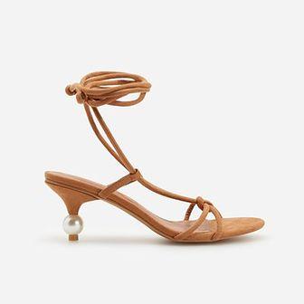 Reserved - Sandały z bizuteryjną ozdobą - Beżowy