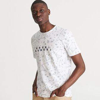 Reserved - T-shirt z printem - Kremowy