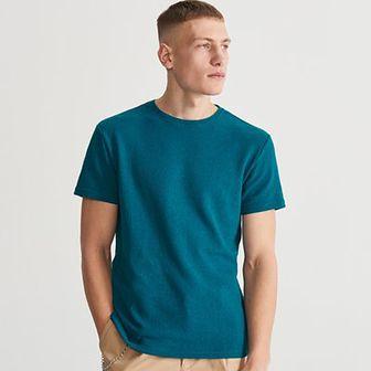 Reserved - T-shirt ze strukturalnej dzianiny - Turkusowy