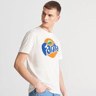 Reserved - T-shirt Fanta - Kremowy