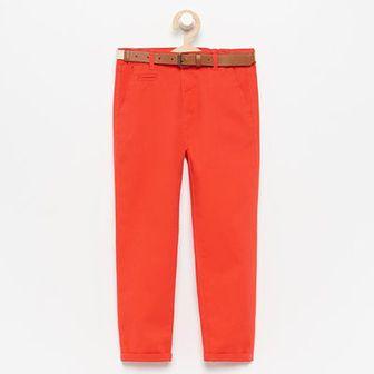 Reserved - Spodnie chino z paskiem - Pomarańczowy