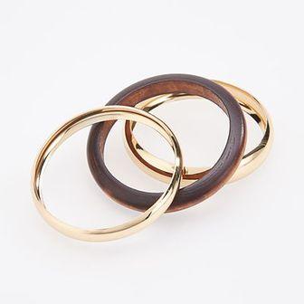 Reserved - Zestaw bransoletek z drewnianym elementem - Złoty
