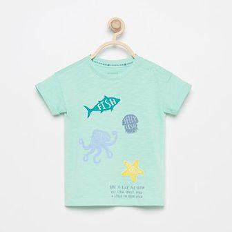 Reserved - T-shirt z bawełny organicznej - Turkusowy