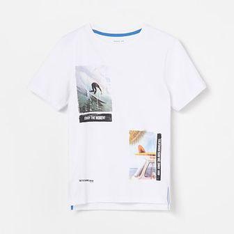 Reserved - T-shirt z surferskim nadrukiem - Biały