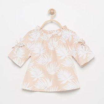 Reserved - Bluzka w liście - Beżowy