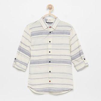 Reserved - Bawełniana koszula w paski - Kremowy