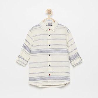 Reserved - Bawełniana koszula z podwijanymi rękawami - Kremowy