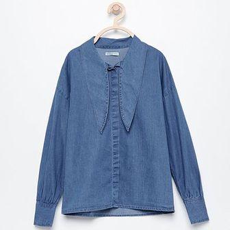 Reserved - Koszula z wiązaniem na dekolcie - Niebieski