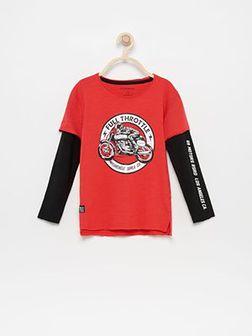 Reserved - Koszulka z dwuwarstwowymi rękawami - Czerwony