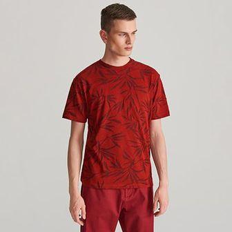 Reserved - T-shirt ze strukturalnym wzorem - Bordowy
