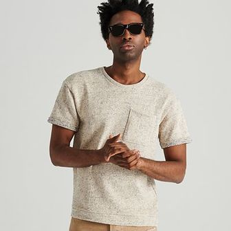 Reserved - T-shirt ze strukturalnej dzianiny - Jasny szar