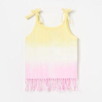 Reserved - Bluzka tie-dye z frędzlami - Żółty