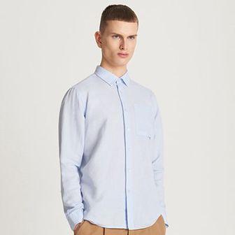 Reserved - Koszula z lnu i bawełny - Niebieski