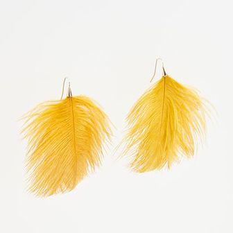 Reserved - Kolczyki pióra - Żółty