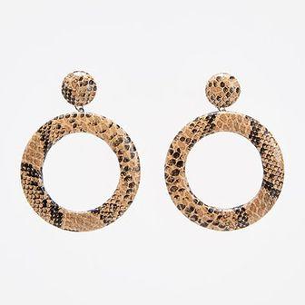 Reserved - Kolczyki z motywem skóry wężą - Brązowy