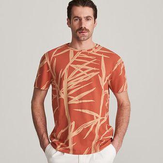 Reserved - Wzorzysty t-shirt - Czerwony