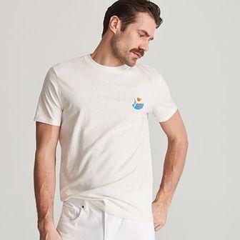 Reserved - Bawełniany T-shirt z haftem - Kremowy