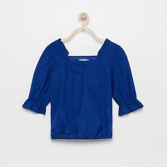 Reserved - Bluzka z bufiastymi rękawami - Niebieski
