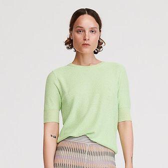 Reserved - Bluzka ze strukturalnej dzianiny - Zielony