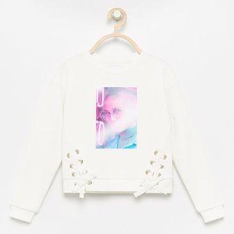Reserved - Bluza z ozdobnymi wiązaniami - Biały