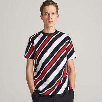 Reserved - T-shirt w paski - Czarny